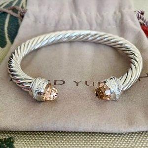 NEW David Yurman Morganite/Diamond Cuff Bracelet 7